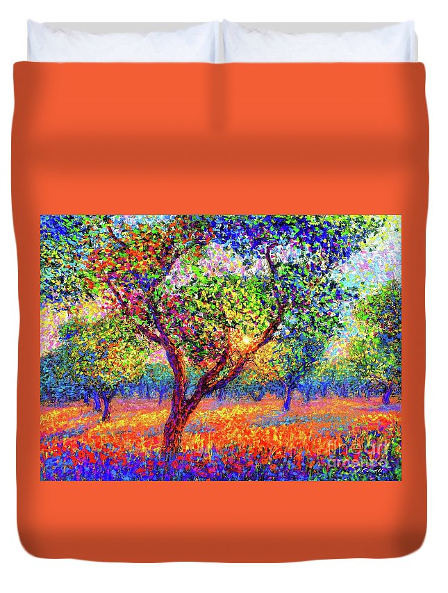 Floral Duvet Cover featuring the painting Evening Poppies by Jane Small