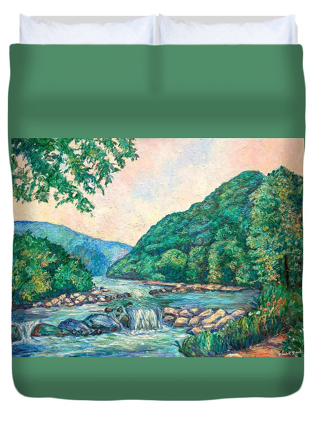 Landscape Duvet Cover featuring the painting Evening River Scene by Kendall Kessler
