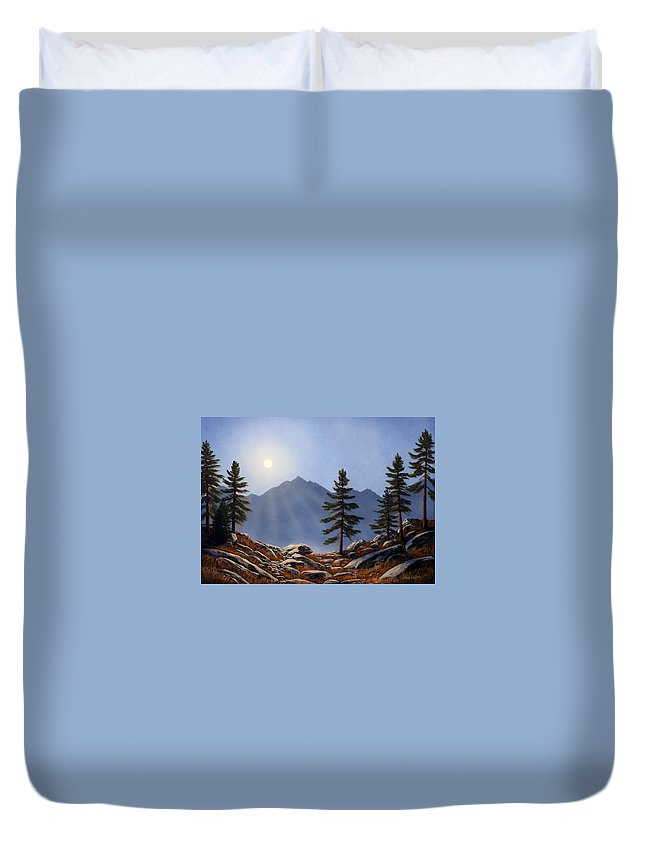 Evening Sun Duvet Cover featuring the painting Evening Sun by Frank Wilson