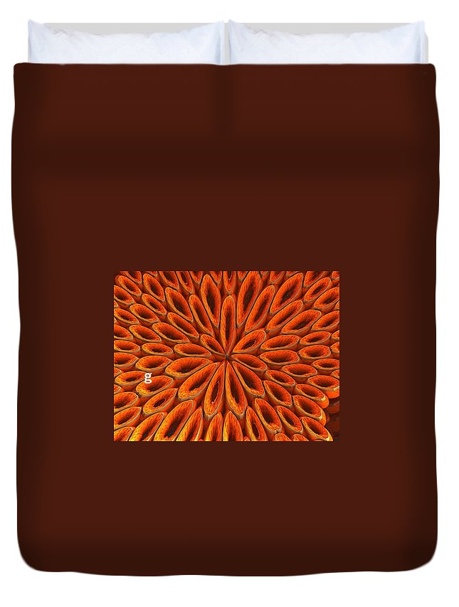 Duvet Cover featuring the photograph Face Mask Orange by Getty Images
