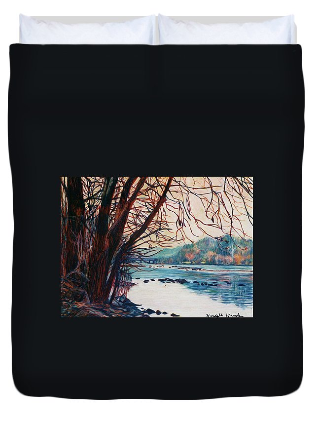New River Duvet Cover featuring the pastel Fall on the New River by Kendall Kessler