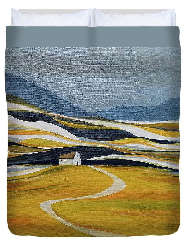 Landscape Duvet Cover featuring the painting Far Away From the Crowd by Aniko Hencz