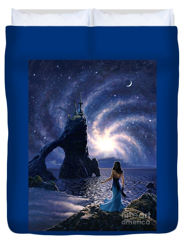 Space Duvet Cover featuring the painting Far Synura by Stu Shepherd
