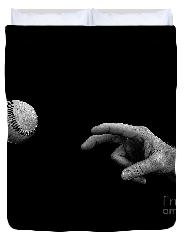 Ball Duvet Cover featuring the photograph Fastball in Black and White by Diane Diederich