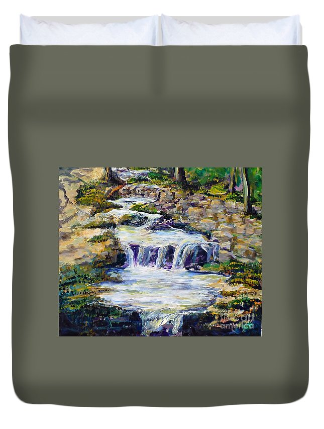 Los Angeles Duvet Cover featuring the painting Fern Dell Creek Noon by Randy Sprout