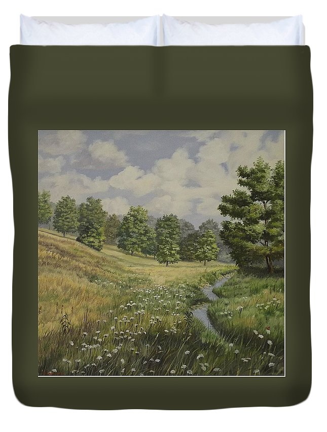 Cloudy Skies Duvet Cover featuring the painting Field And Stream by Wanda Dansereau