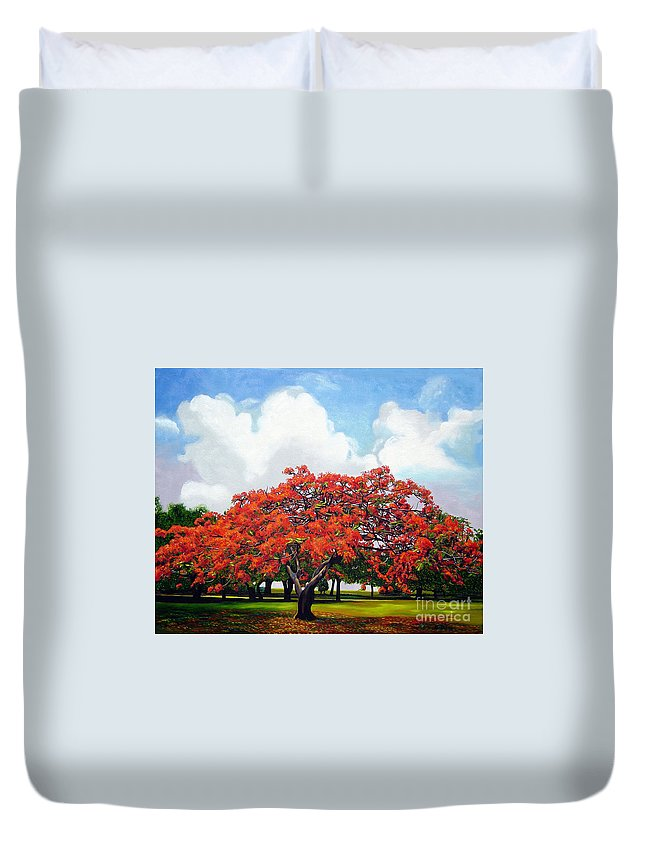 Cuban Art Duvet Cover featuring the painting Flamboyan by Jose Manuel Abraham