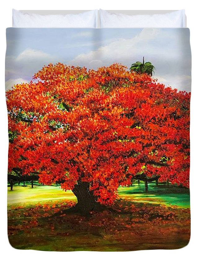 Flamboyant Tree Duvet Cover featuring the painting Flamboyant Ablaze by Karin Dawn Kelshall- Best