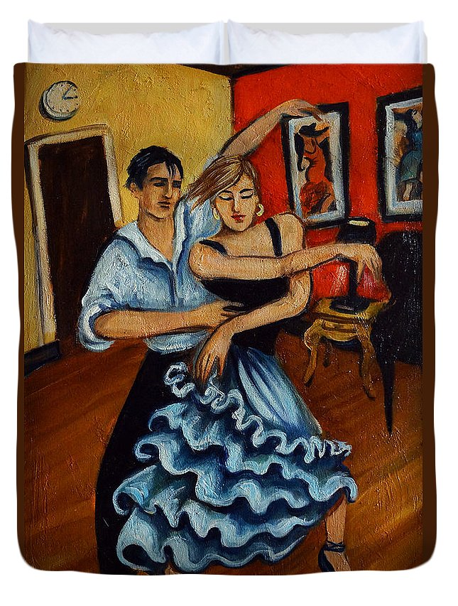 Dancers Duvet Cover featuring the painting Flamenco by Valerie Vescovi
