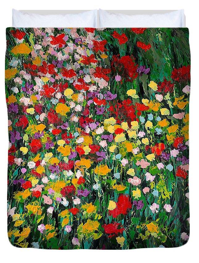 Landscape Duvet Cover featuring the painting Floral Eruption by Allan P Friedlander