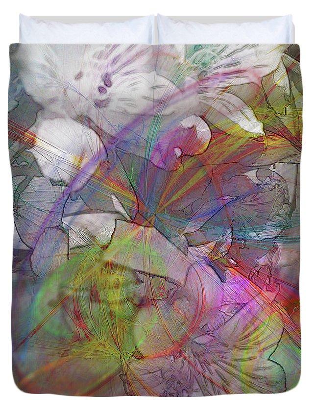 Floral Fantasy Duvet Cover featuring the digital art Floral Fantasy by John Robert Beck