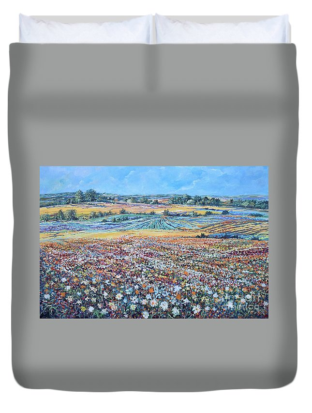 Flower Duvet Cover featuring the painting Flower Field by Sinisa Saratlic