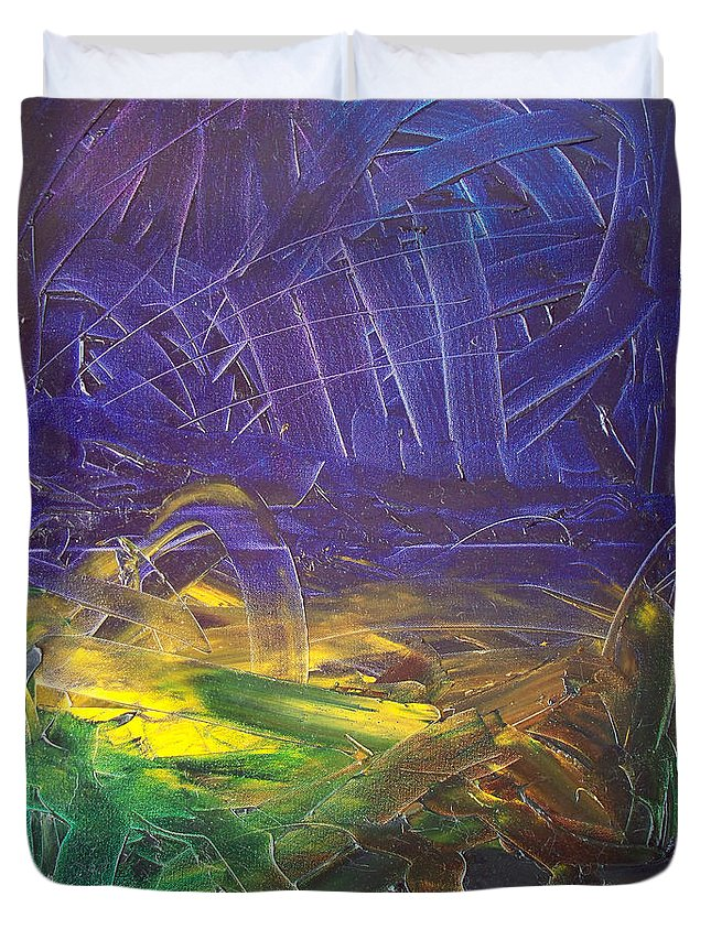 Painting Duvet Cover featuring the painting Forest. Part2 by Sergey Bezhinets