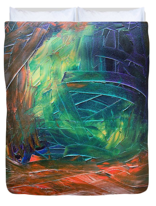Painting Duvet Cover featuring the painting Forest.Part3 by Sergey Bezhinets