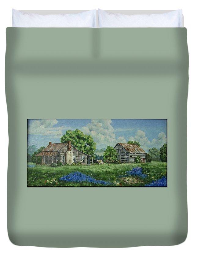 Landscape Duvet Cover featuring the painting Forgotten Memories by Wanda Dansereau