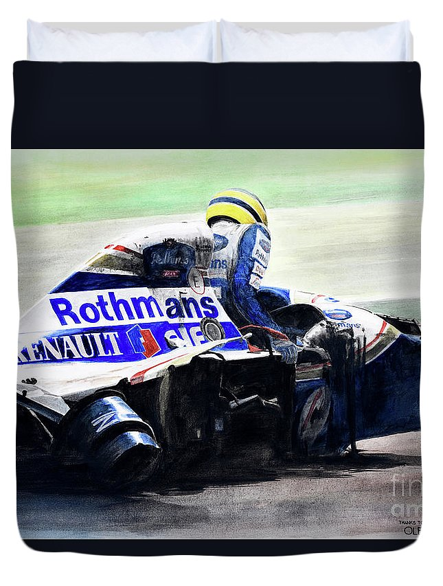 Formula One Duvet Cover featuring the painting Formula Alone by Oleg Konin