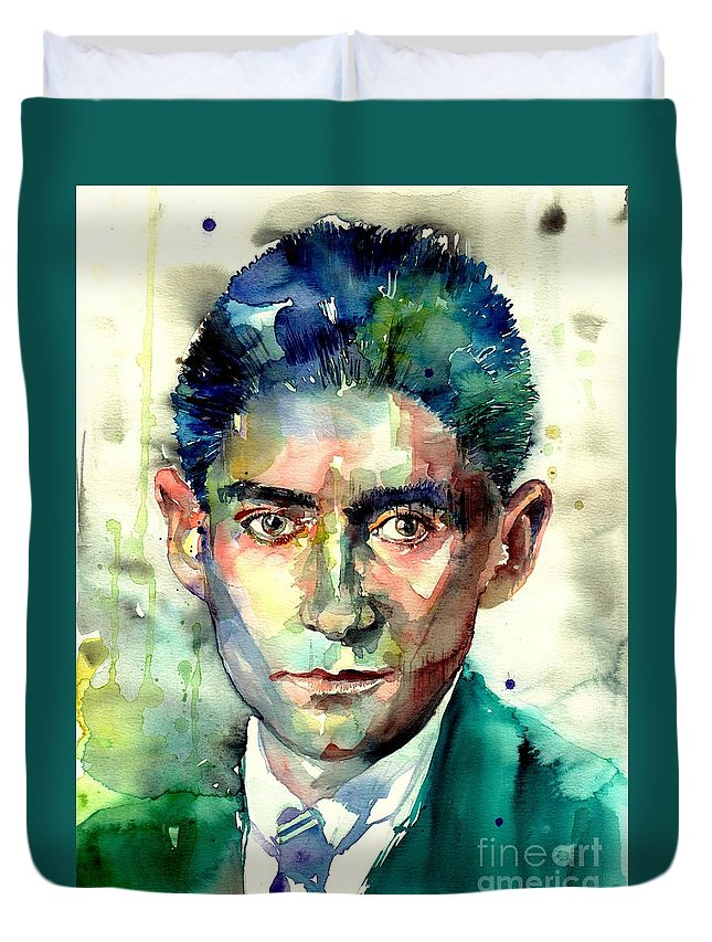 Franz Kafka Duvet Cover featuring the painting Franz Kafka Portrait by Suzann Sines