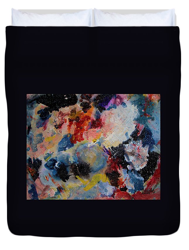 Abstract Duvet Cover featuring the painting Freedom by Natalie Holland