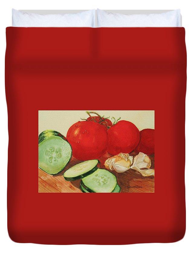 Still Life Duvet Cover featuring the painting Fresh Veggies by Karen Ilari