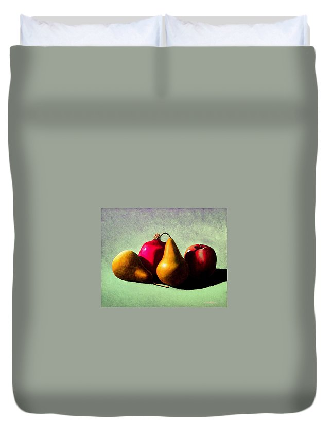 Still Life Duvet Cover featuring the painting Fruit Harvest by Frank Wilson