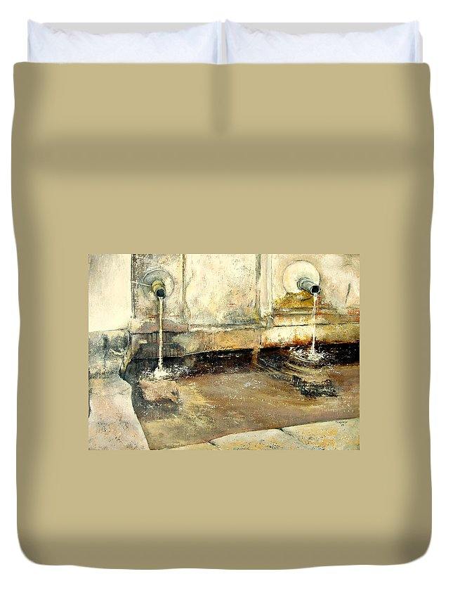 Fuente Duvet Cover featuring the painting Fuente by Tomas Castano