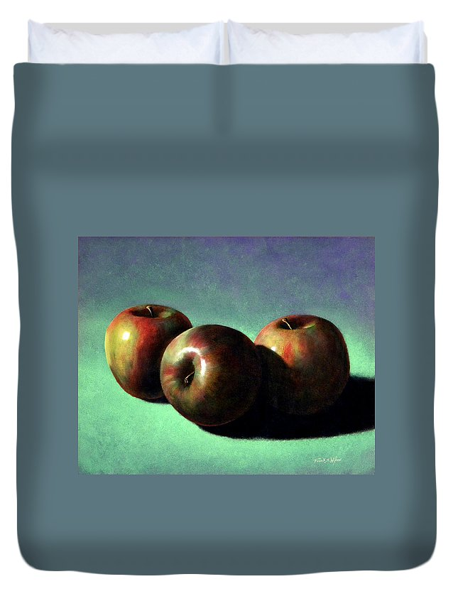 Still Life Duvet Cover featuring the painting Fuji Apples by Frank Wilson