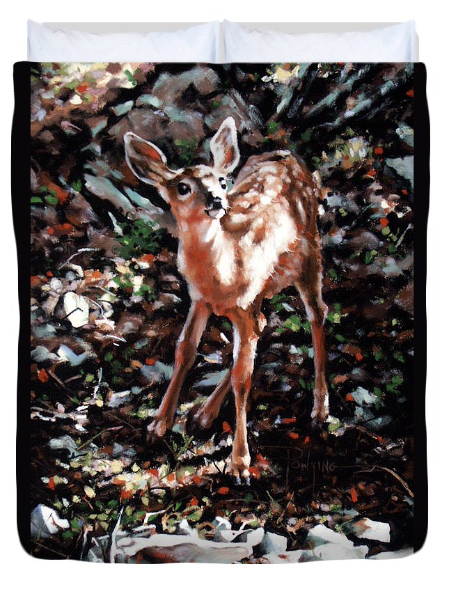 Deer Duvet Cover featuring the painting Garden Ornament by Dianna Ponting