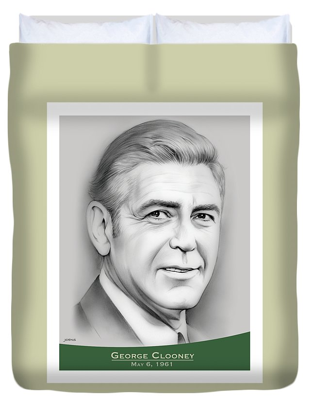 George Clooney Duvet Cover featuring the drawing George Clooney birthday by Greg Joens