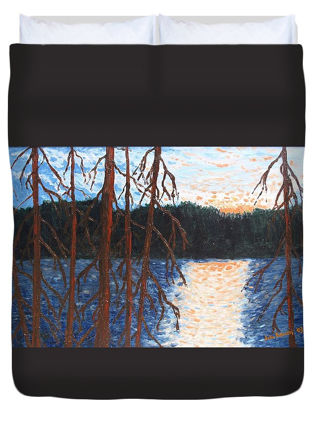 Setting Sun Duvet Cover featuring the painting Georgian Bay Ghosts by Ian MacDonald