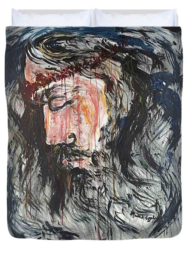 Jesus Duvet Cover featuring the painting Gethsemane to Golgotha by Nadine Rippelmeyer