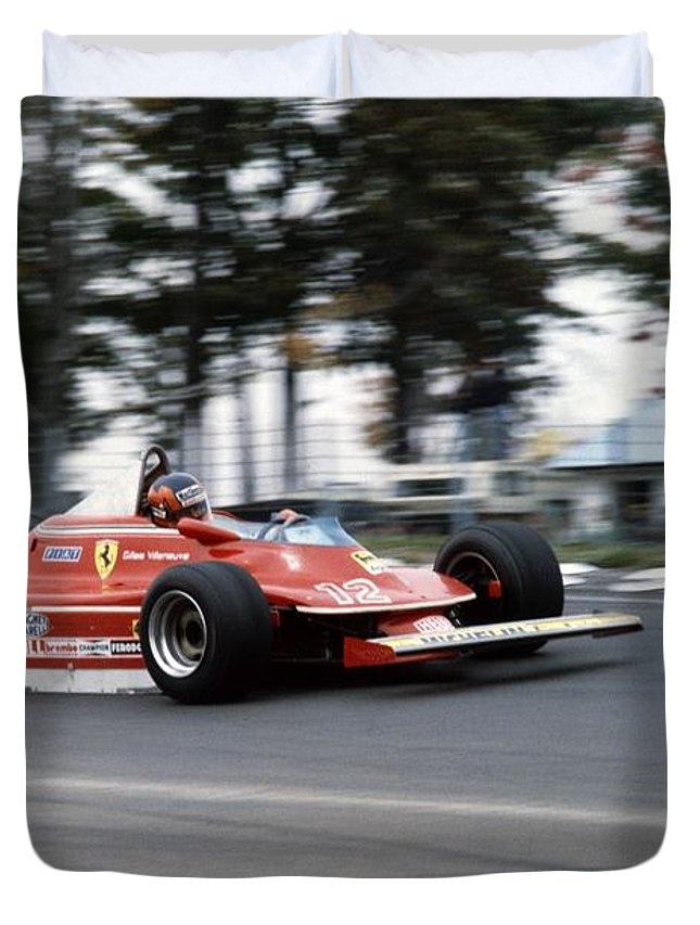Gilles Villeneuve Duvet Cover featuring the photograph Gilles Villeneuve. 1979 United States Grand Prix by Oleg Konin