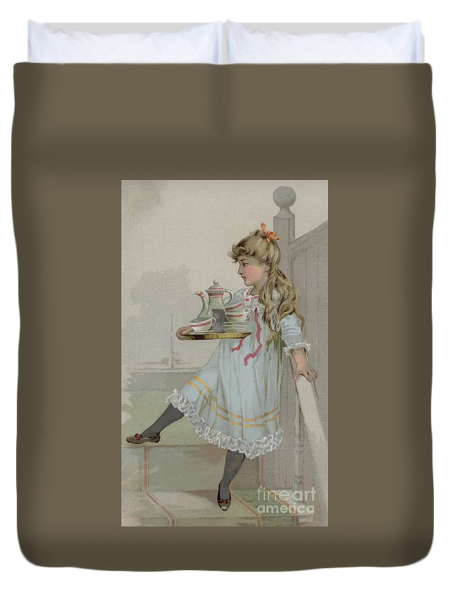 Girl Duvet Cover featuring the painting Girl Carrying A Pot Of Coffee On A Tray by American School