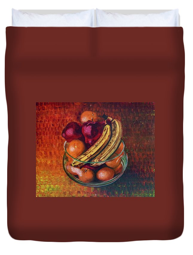 Oil Painting On Canvas Duvet Cover featuring the painting Glass Bowl Of Fruit by Sean Connolly
