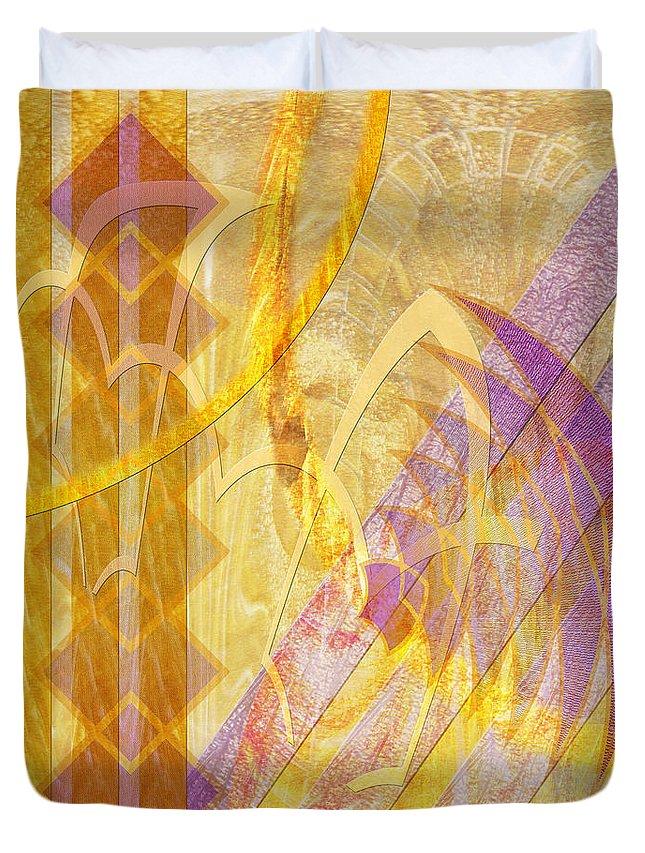 Gold Fusion Duvet Cover featuring the digital art Gold Fusion by John Robert Beck
