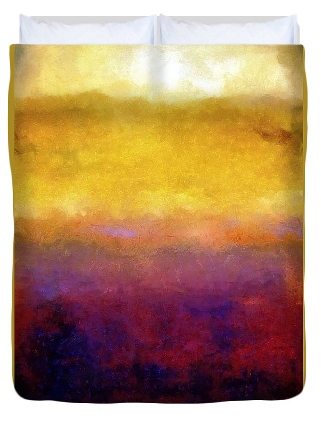 Abstract Duvet Cover featuring the painting Golden Sunset by Michelle Calkins