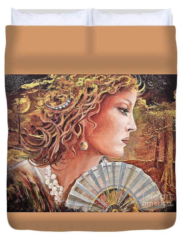 Female Portrait Duvet Cover featuring the painting Golden Wood by Sinisa Saratlic