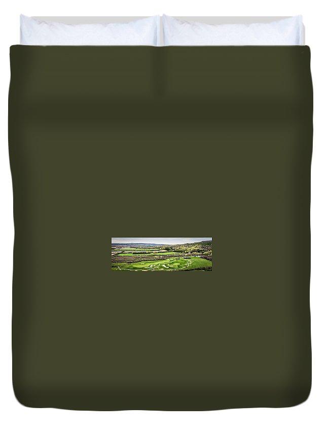Golf Duvet Cover featuring the photograph Golf at Osler Brook Aerial by Eden Watt