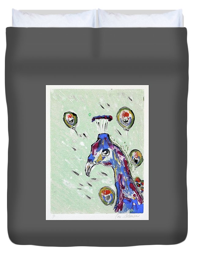 Monotype Duvet Cover featuring the mixed media Grand Splendor by Cori Solomon