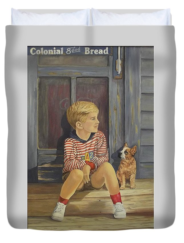 A Young Boy And His Dog Duvet Cover featuring the painting Grandpas Country Store by Wanda Dansereau