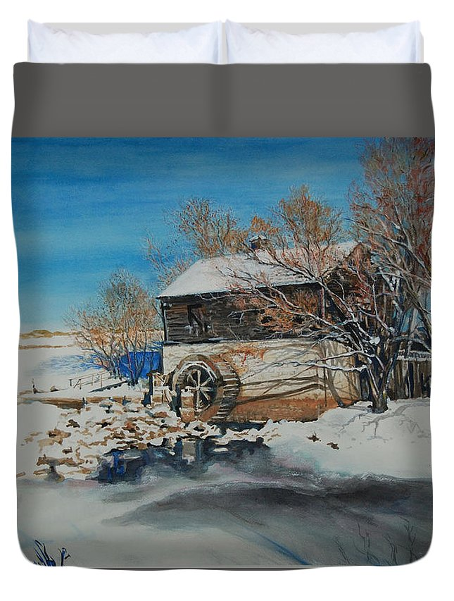 Mill Duvet Cover featuring the painting Grants Old Mill by Susan Moore