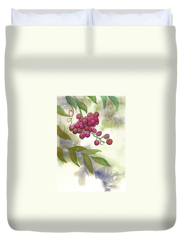 Rick Huotari Duvet Cover featuring the painting Grapes Divine by Rick Huotari