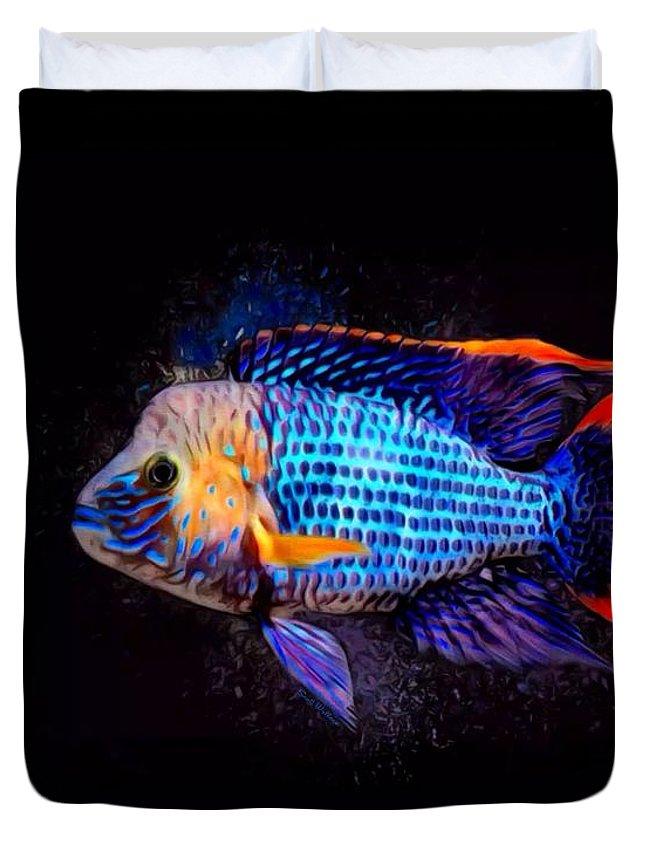 Green Terror Duvet Cover featuring the digital art Green Terror Cichlid Fish by Scott Wallace Digital Designs