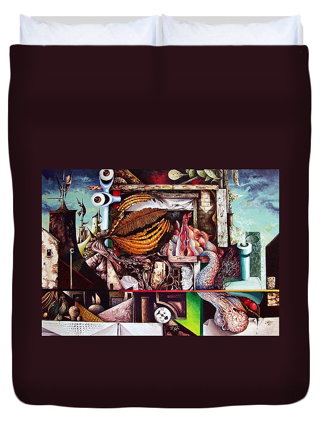 Surrealism Duvet Cover featuring the painting Grey Day At The Factory by Otto Rapp