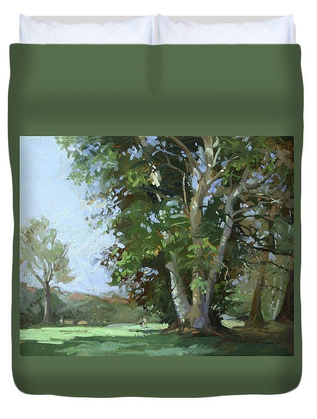 Golf Courses Duvet Cover featuring the painting Guardian of the Green by Betty Jean Billups