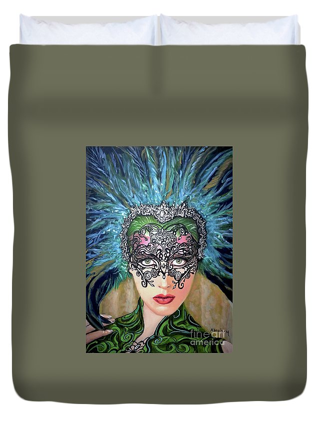 Party Duvet Cover featuring the painting Guess by Jose Manuel Abraham