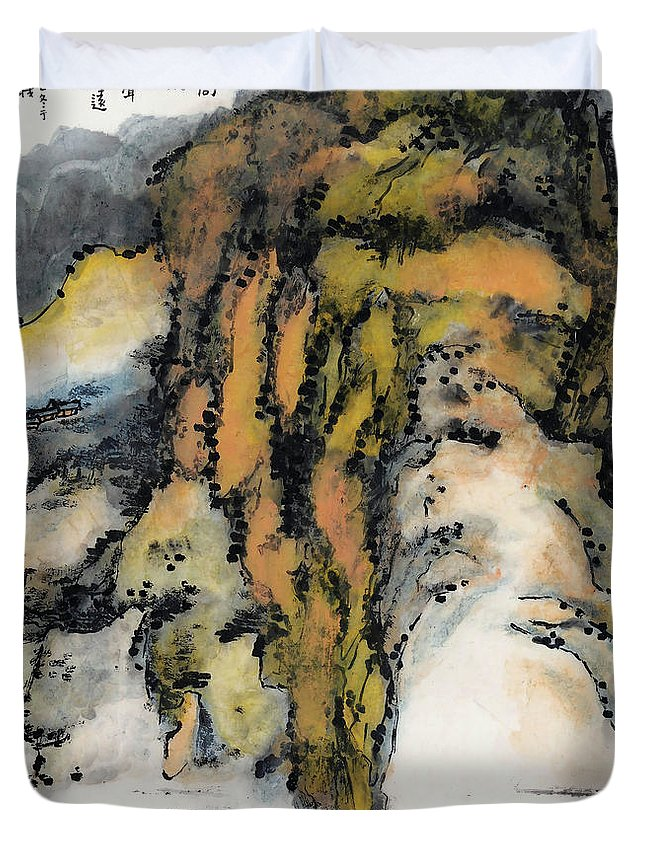 Lai Shaoji Duvet Cover featuring the painting High Mountains And Flowing Water In    by Lai Shaoji