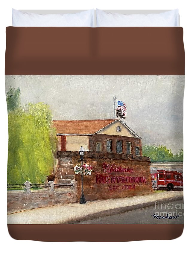 Hightstown Duvet Cover featuring the painting Hightstown Est. 1721 by Sheila Mashaw
