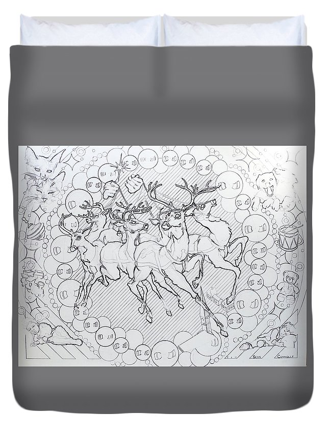 Charcoal Pencil Duvet Cover featuring the drawing His Courses They Came by Sean Connolly