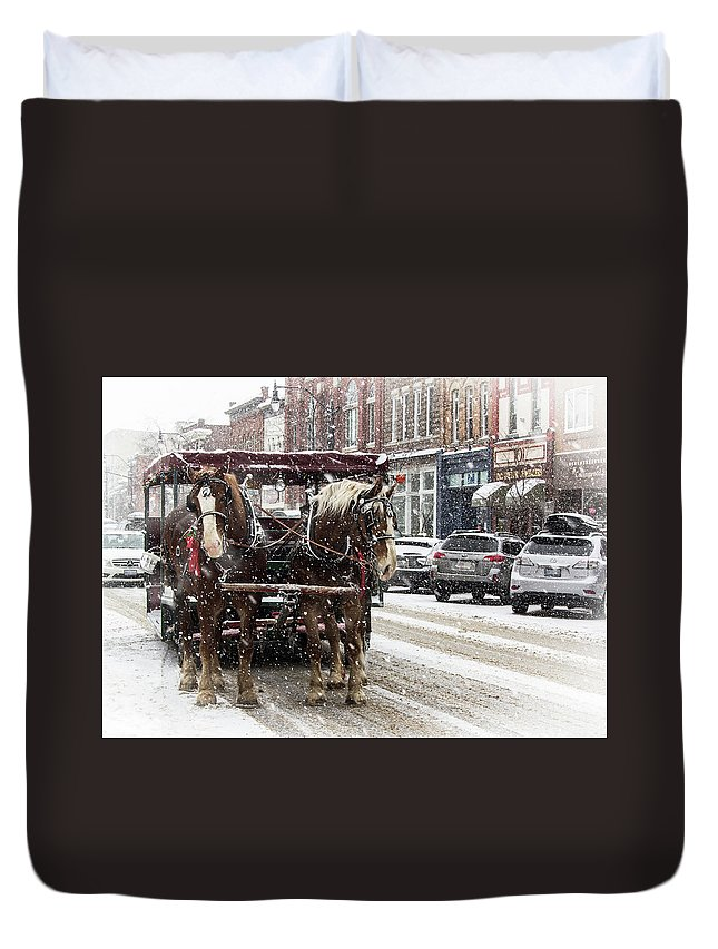 Collingwood Duvet Cover featuring the photograph Horse-Drawn Carriage by Eden Watt
