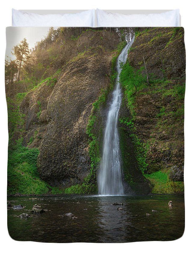 Horsetail Falls Duvet Cover featuring the photograph Horsetail Falls by Michael Ver Sprill